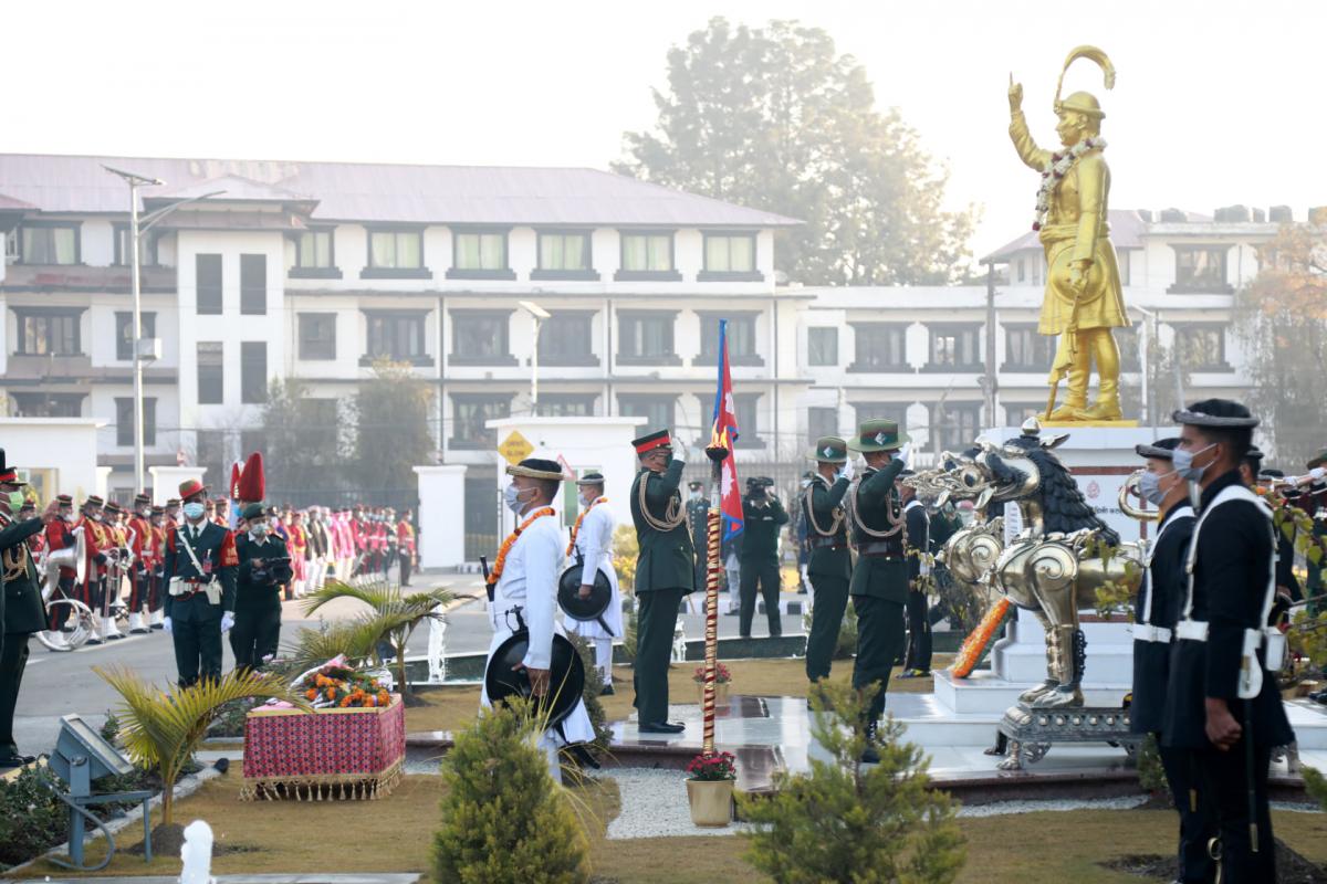 विगतमा जस्तै यसवर्ष पनि नेपाली सेनाले 'पृथ्वी जयन्ती तथा राष्ट्रिय एकता दिवस–२०७७' मनाएको छ।
