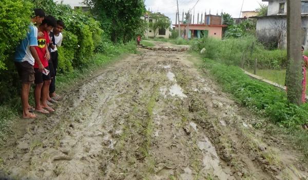 धनगढी उपमहानगरपालिका वडा नम्बर ५ का स्थानीयले सडकमा रोपाइँ गर्दै नाराबाजी गरेका छन्।