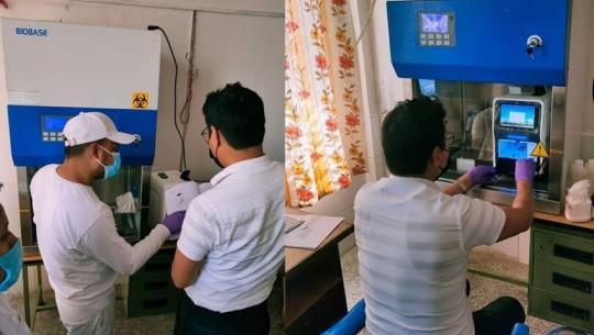 संघीय सरकारले धनगढीमा स्थापना गरेको कोरोना भाइरस (कोभिड १९) जाँच गर्ने प्रयोगशाला