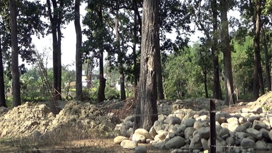 कैलालीको गौरीगंगा नगरपालिका ६ स्थित वन क्षेत्रमा निर्माधिन स्वास्थ्य चौकी भवन